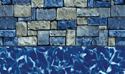 Fieldstone Overlap Aove Ground Pool Liner - Small Oval Above Ground Pools Sizes Available